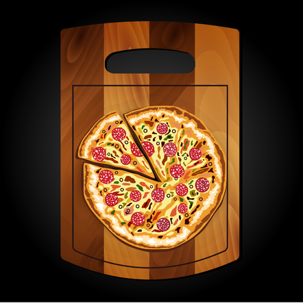 margherita: Pizza on the board on a black background.
