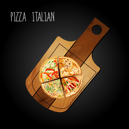 margherita: Pizza on the board on a black background Illustration
