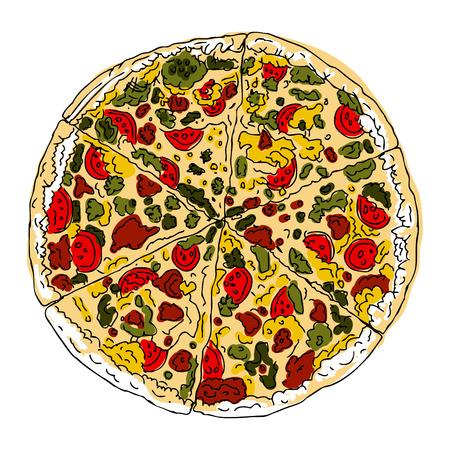 onion slice: Pizza on a white background Illustration