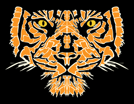 silueta tigre: Tiger head vector illustration Vectores