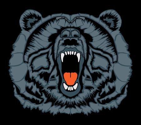 Angry brown bear head Illustration