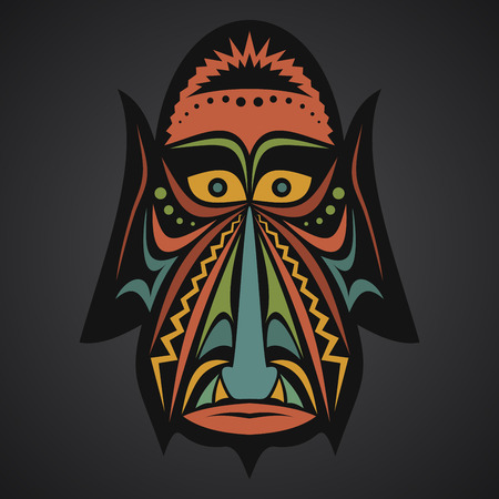african mask: African Mask on a black background Illustration