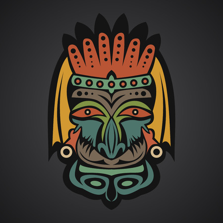cult: African Mask on a black background Illustration