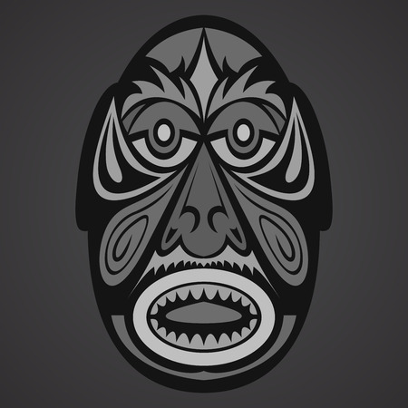 cult: Gray Ethnic  African Mask on a black background
