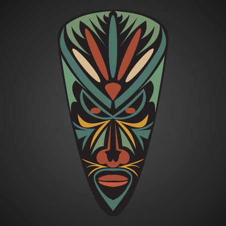 African Mask on a black background Illustration