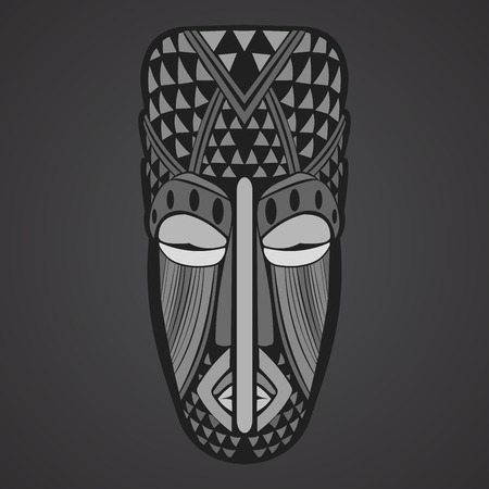 cult tradition: Gray Ethnic  African Mask on a black background