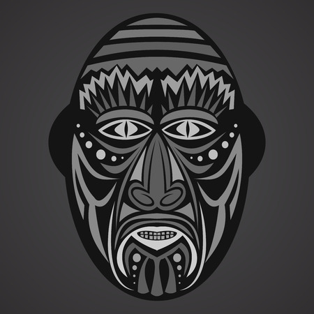 aborigine: Gray Ethnic  African Mask on a black background