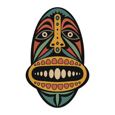 cult tradition: African Mask on a white background