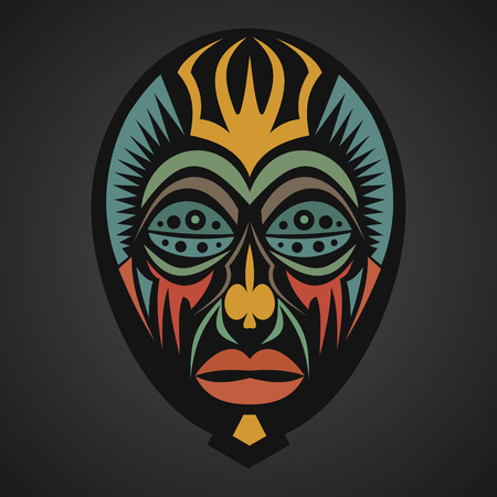 cult tradition: African Mask on a black background Illustration