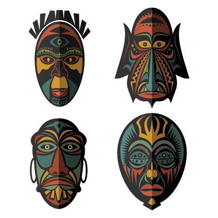 Set of African Ethnic Tribal masks on white background. . Flat icons. Ritual symbols. Illustration