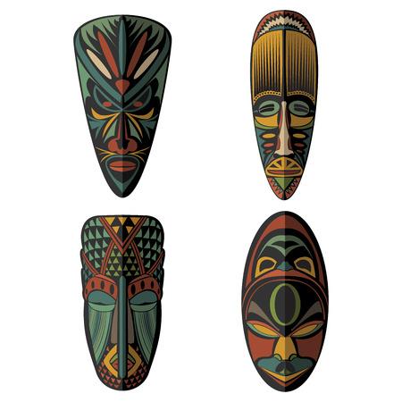 antifaz: Conjunto de máscaras tribales étnicas africanas en el fondo blanco. . Iconos planos. Símbolos rituales.