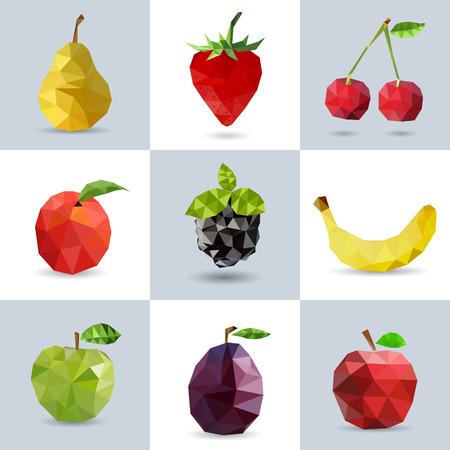 Set of polygonal fruit - pear, strawberry, cherry, peach, blackberry, banana, apple, plum. Vector illustration.
