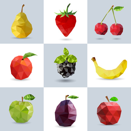 Set of polygonal fruit - pear, strawberry, cherry, peach, blackberry, banana, apple, plum. Vector illustration.