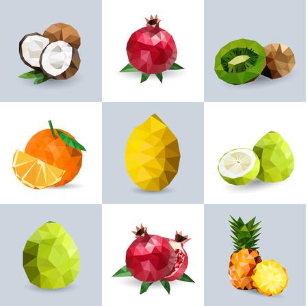 claret: Set of polygonal fruit - polygonal, coconut, pomegranate, kiwi, orange, lemon, grapefruit, pineapple. Vector illustration.
