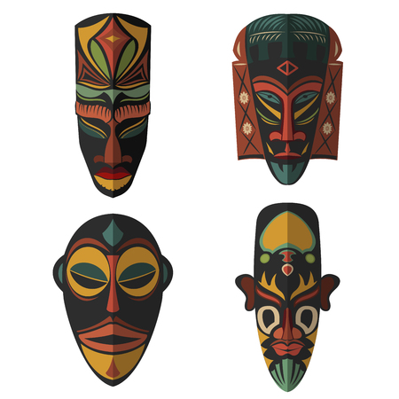 Set of African Ethnic Tribal masks on white background. Flat icons. Ritual symbols. Ilustração