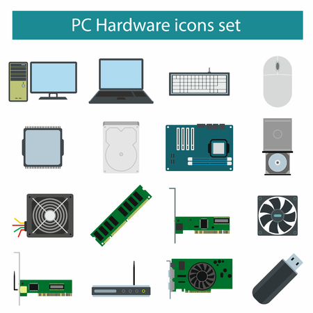 pc icon: PC Hardware icons set in flat style
