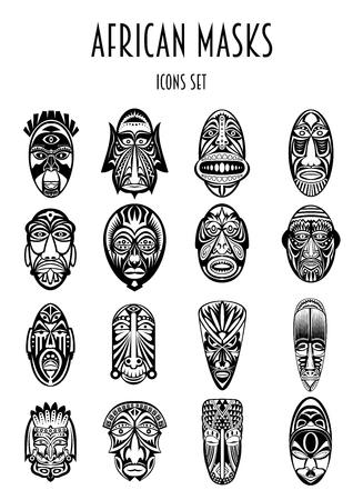 Conjunto de máscaras tribales africanas étnicas Siluetes sobre fondo blanco. Siluetes negros. Los símbolos rituales.