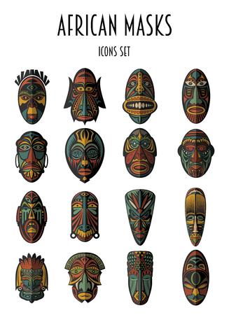 Conjunto de máscaras tribales étnicas africanas en el fondo blanco. iconos planos. Los símbolos rituales. Ilustración de vector