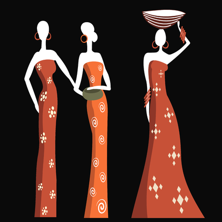nude outdoors: African women in traditional dress on a black background Illustration
