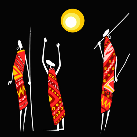 hunters: African hunters under the moon on a black background Illustration