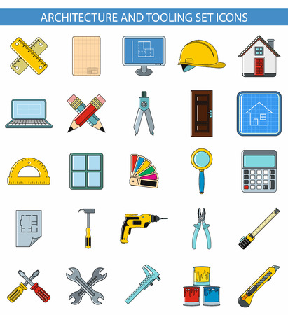 tooling: Architecture and tooling set icons and white background in cartoon style