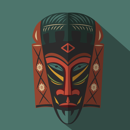 color in: Máscara africana tribal étnica en el fondo de color. icono plana. símbolo ritual.