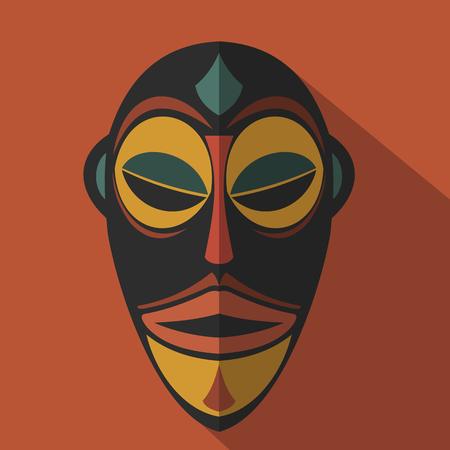 aborigine: African Ethnic Tribal mask in color background. Flat icon. Ritual symbol.