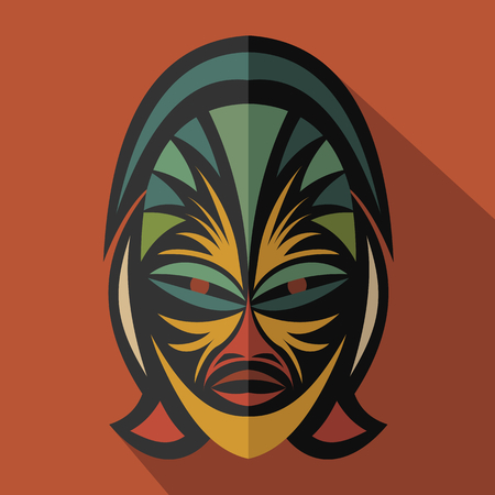 ritual: African Ethnic Tribal mask in color background. Flat icon. Ritual symbol.