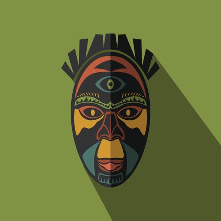 Ethnique masque tribal africain dans la couleur de fond. icon Flat. symbole rituel.