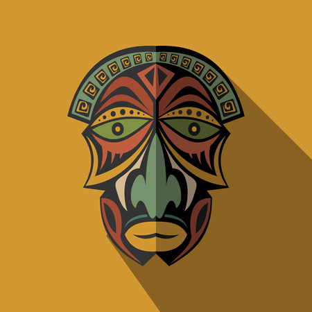 art and craft: African Ethnic Tribal mask in color background. Flat icon. Ritual symbol.
