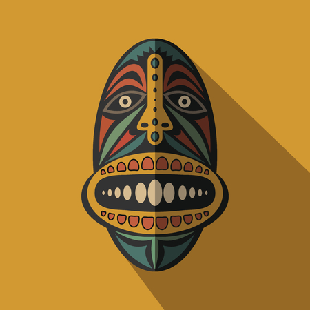 tribe: African Ethnic Tribal mask in color background. Flat icon. Ritual symbol.