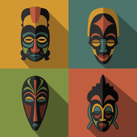 wooden mask: Set of African Ethnic Tribal masks on color background. Flat icons. Ritual symbols. Illustration