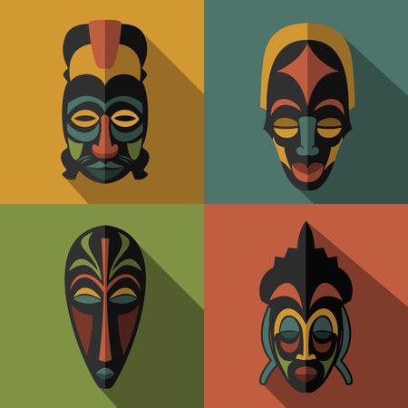 Set of African Ethnic Tribal masks on color background. Flat icons. Ritual symbols. Illustration