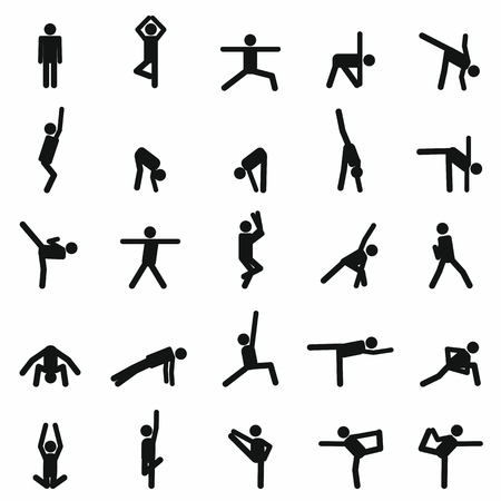 illustration of Yoga poses silhouette for your design  イラスト・ベクター素材