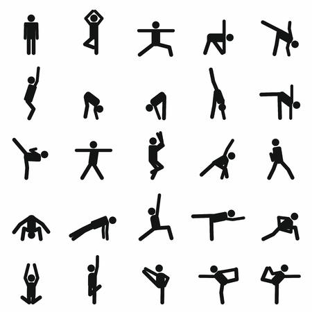 zen like: illustration of Yoga poses silhouette for your design Illustration