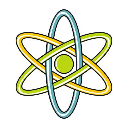 cartoon atom: Cartoon atom icon on white background. Flat design vector illustration for web banner, web and mobile, infographics. Illustration