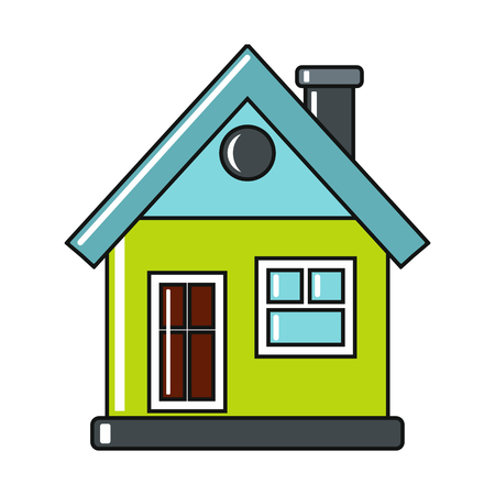 residences: Cartoon house icon on white background. Flat design vector illustration for web banner, web and mobile, infographics.