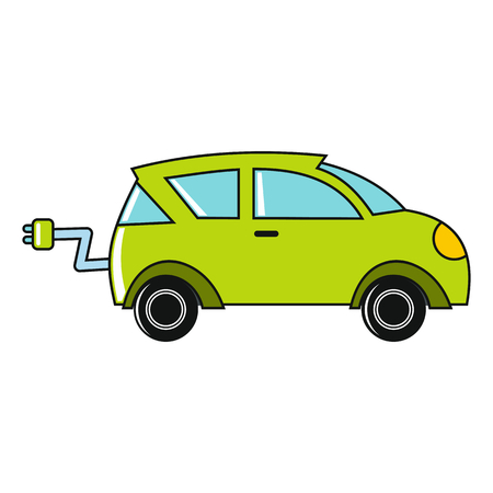 Cartoon car icon on white background. Flat design vector illustration for web banner, web and mobile, infographics.