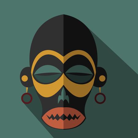 Jeu de masques tribaux ethniques africains sur fond de couleur. icônes plates. symboles rituels.