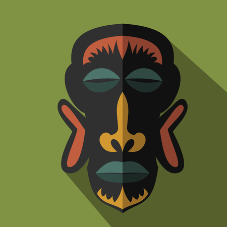 ritual: Set of African Ethnic Tribal masks on colour background. Flat icons. Ritual symbols.