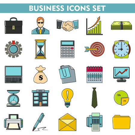 attache: Modern cartoon icons set of corporate management and business leader training. Premium quality cartoon symbol collection. Cartoon flat pictogram pack. cartoon vector logo concept, web graphics.