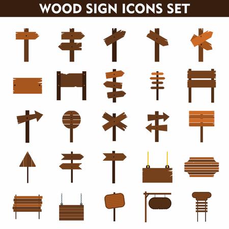 Segno di legno set di icone su sfondo bianco. icone piane. segni dei cartoni animati.
