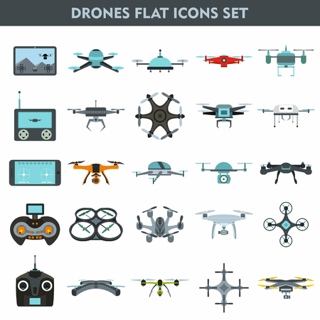 remote view: Quadcopters and drones surveillance and delivery devices 25 flat icons square composition banner abstract isolated vector illustration Illustration