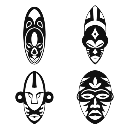 ritual: Set of African Ethnic Tribal masks on white background. Flat icons. Ritual symbols. Illustration