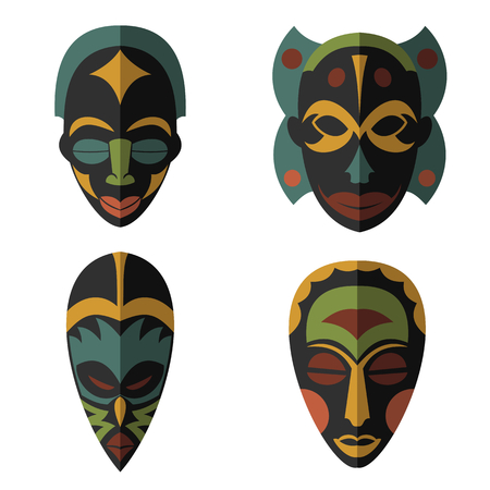 Set of African Ethnic Tribal masks on white background. Flat icons. Ritual symbols. Vektorové ilustrace