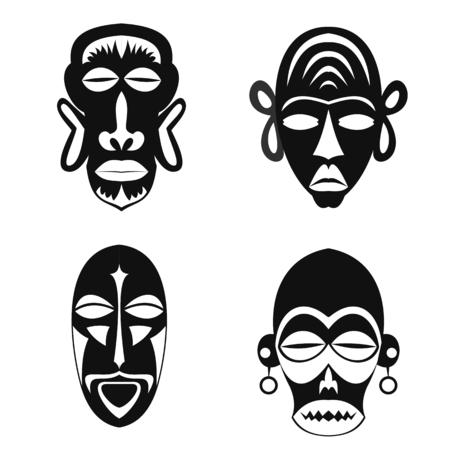 wooden mask: Set of African Ethnic Tribal masks on white background. Flat icons. Ritual symbols. Illustration