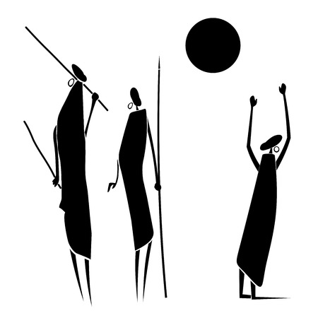 African hunters under the sun on a white background. Vector illustration
