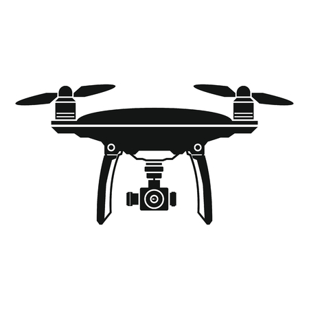 Drone vector icon in black flat style, white background