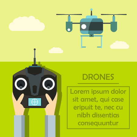 drones: Radio-controlled drones concept with console in hands. Flat vector illustration Illustration