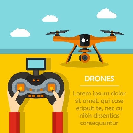 Radio-controlled drones concept with console in hands. Flat vector illustration Ilustração